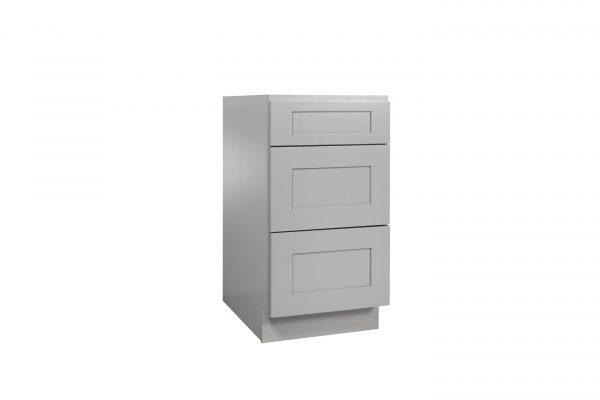 "Gray Shaker 12"" - 30"" Three Drawer Base Cabinet"