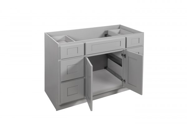 """Gray Shaker 48"""" Vanity Cabinet with Drawers"""