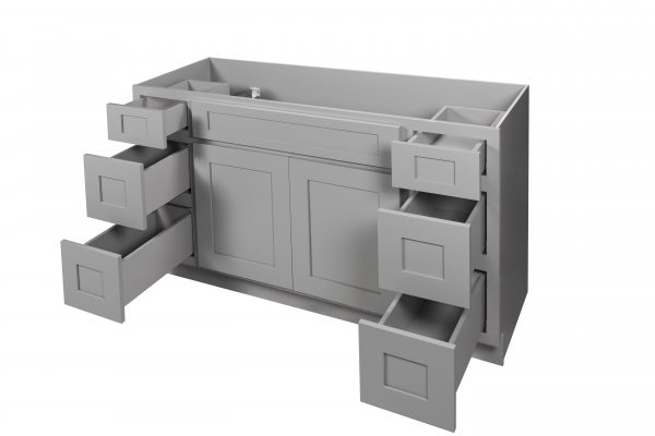 """Gray Shaker 60"""" Vanity with Drawers"""