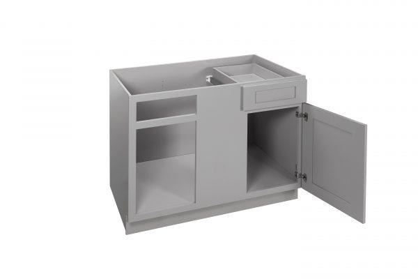 """Gray Shaker 42"""" - 45"""" Blind Base Corner Cabinet"""
