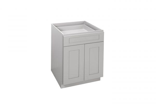 "Gray Shaker 24"" - 30"" Base Cabinet - Double Door / Single Drawer"