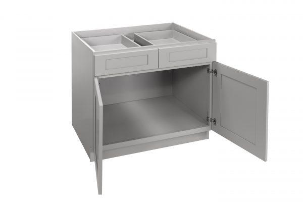 "Gray Shaker 33"" - 36"" Base Cabinet - Double Door / Double Drawer"
