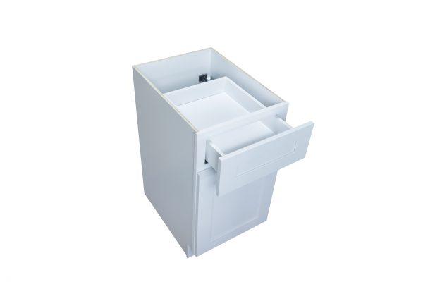"White Shaker 09"" - 21"" Base Cabinet - Single Door / Single Drawer"