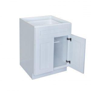 "White Shaker 24"" - 30"" Base Cabinet - Double Door / Single Drawer"