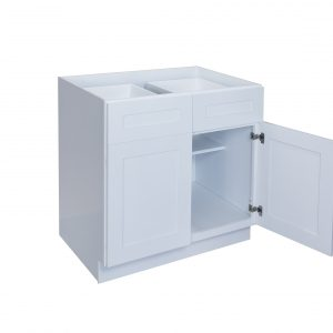 """White Shaker 33"""" - 36"""" Base Cabinet - Double Door / Double Drawer"""