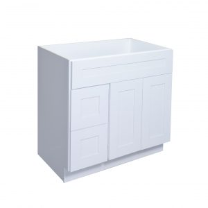 """White Shaker 36"""" Vanity Cabinet with Drawers L/R"""