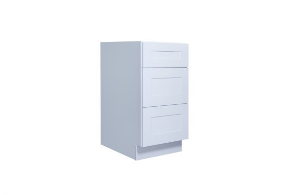 "White Shaker 12"" - 30"" Three Drawer Base Cabinet"