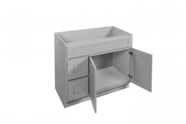 """Gray Shaker 42"""" Vanity Cabinet with Drawers L/R"""